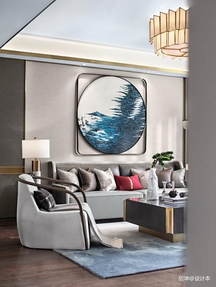 轻奢316平中式样板间客厅装饰图
