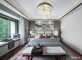大气303平中式样板间卧室设计案例样板间中式现代家装装修案例效果图