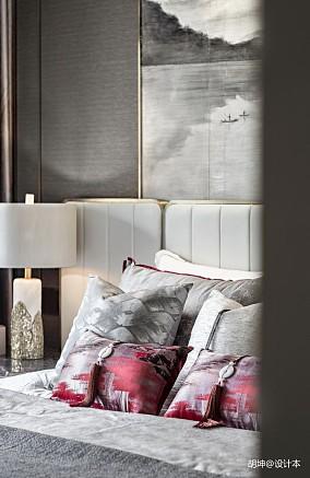 轻奢308平中式样板间卧室案例图样板间中式现代家装装修案例效果图