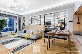 90㎡→120㎡简约客厅厨房一体设计二居现代简约家装装修案例效果图