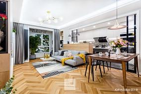 优雅84平简约二居客厅装修设计图二居现代简约家装装修案例效果图