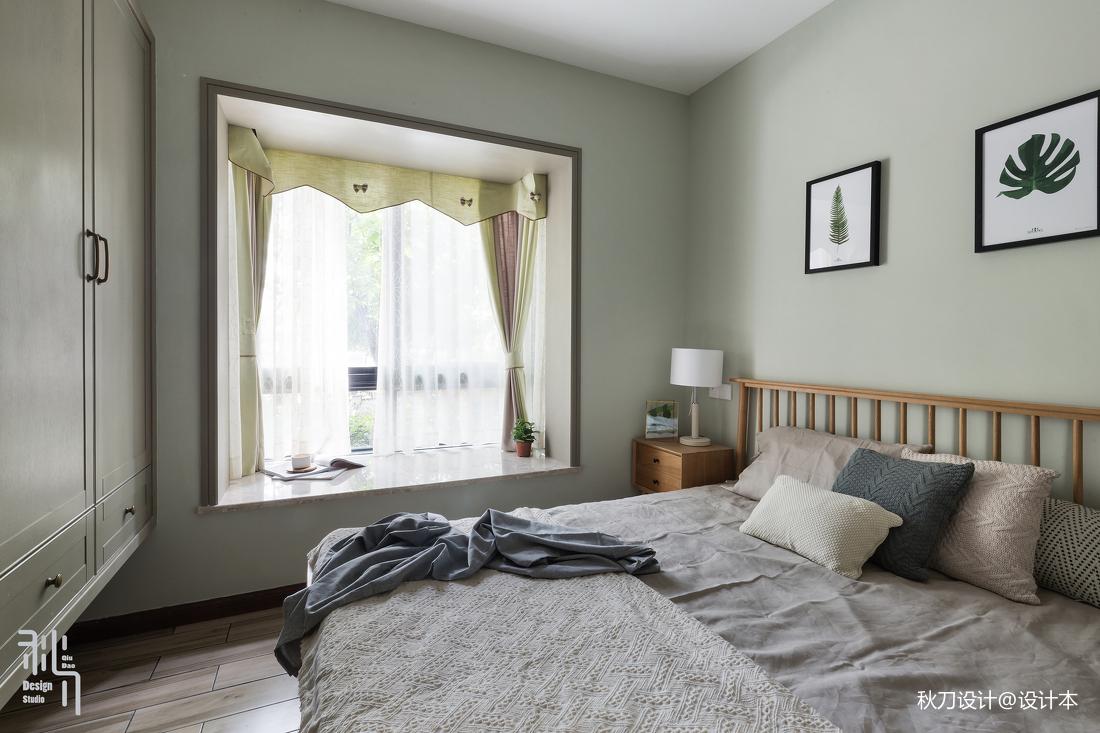 浅灰蓝北欧风卧室飘窗设计图卧室床北欧极简卧室设计图片赏析