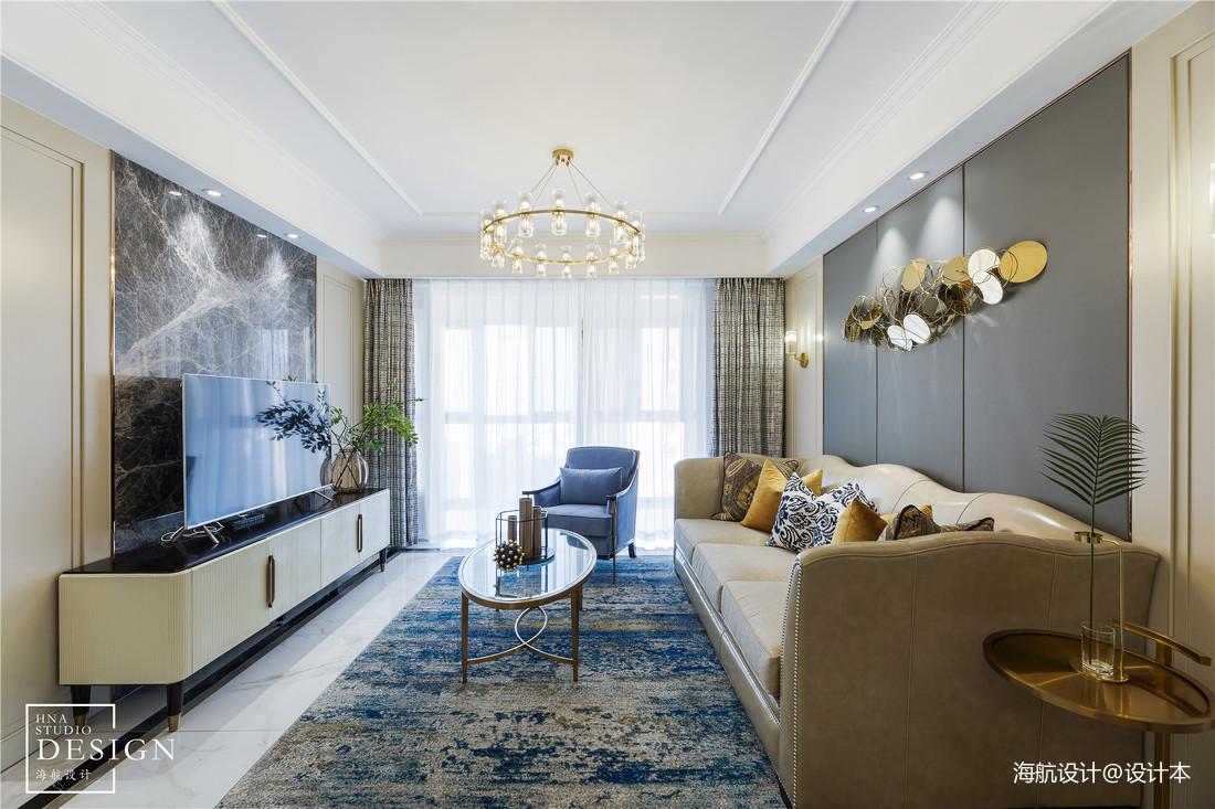 简单轻奢美式客厅吊灯设计图客厅窗帘美式经典客厅设计图片赏析