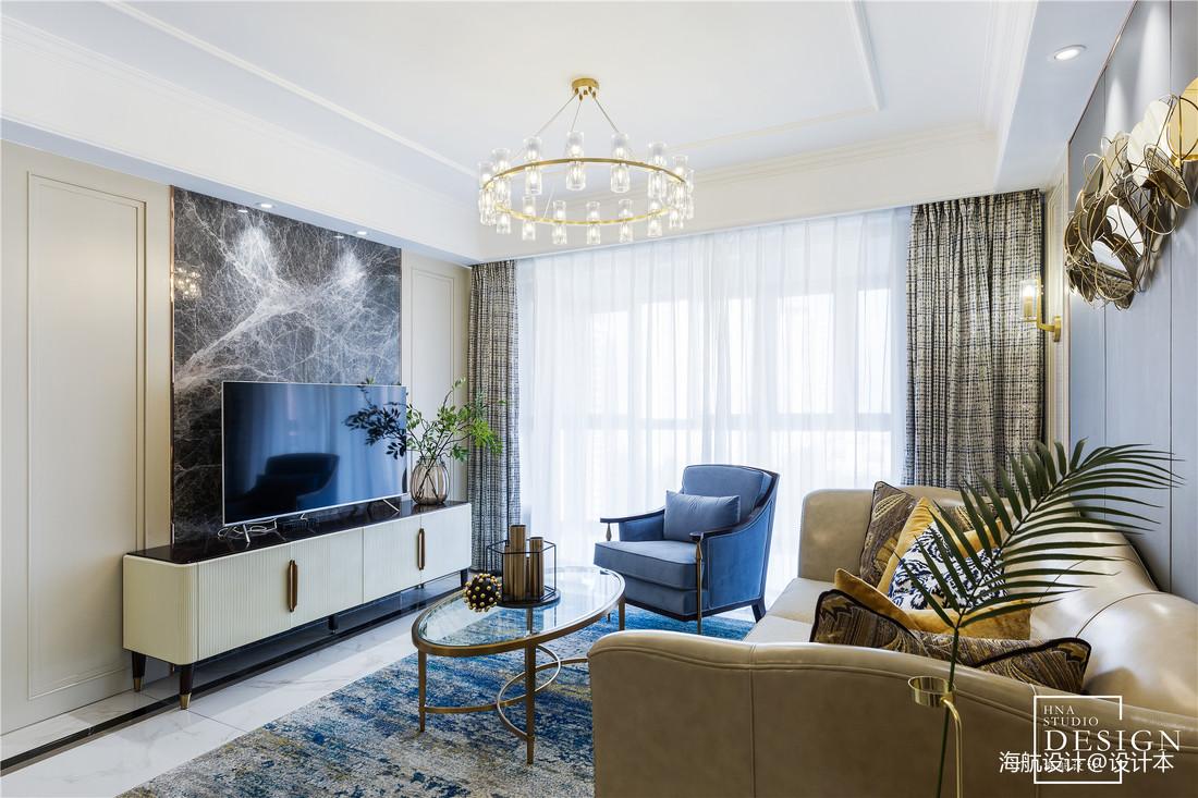 简单轻奢美式客厅背景墙设计图客厅窗帘美式经典客厅设计图片赏析