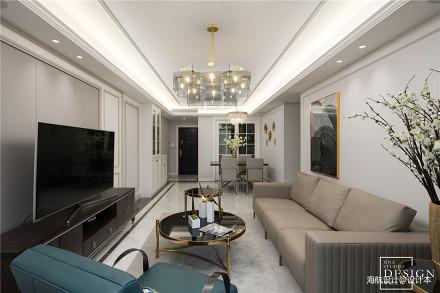 美式轻奢客厅吊灯设计实景三居美式经典家装装修案例效果图