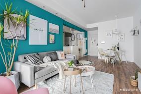 温馨62平北欧二居客厅装潢图二居北欧极简家装装修案例效果图