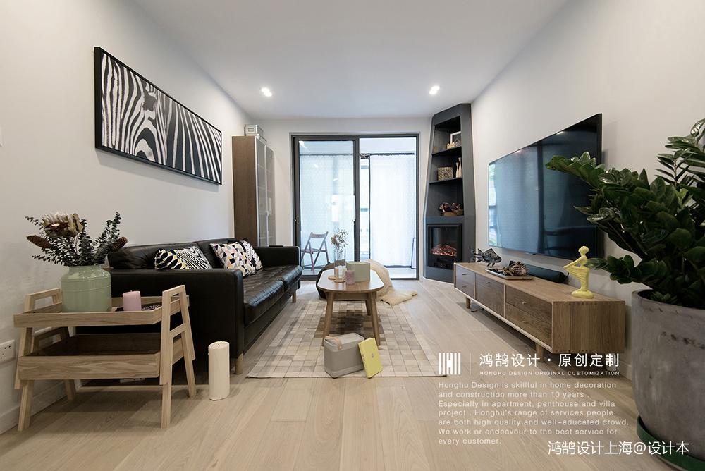 质朴90平北欧二居客厅布置图二居北欧极简家装装修案例效果图