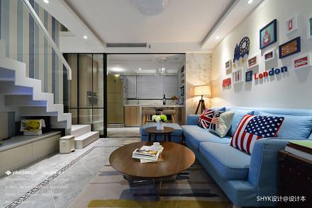 典雅62平现代复式客厅美图