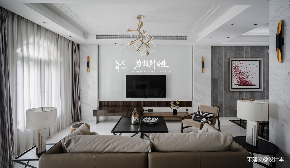 现代风大别墅客厅吊灯设计别墅豪宅现代简约家装装修案例效果图