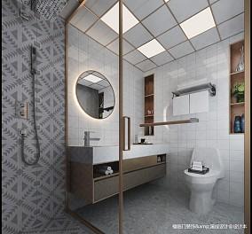 精美62平简约复式卫生间效果图复式现代简约家装装修案例效果图