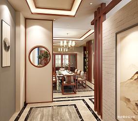 悠雅989平中式别墅玄关装修图别墅豪宅中式现代家装装修案例效果图