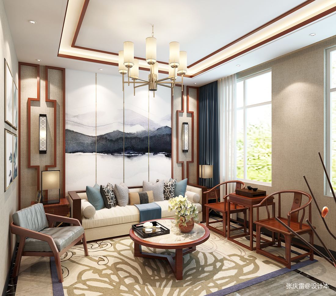 观山闲居中式别墅室内设计别墅豪宅中式现代家装装修案例效果图