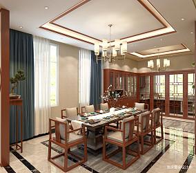 轻奢902平中式别墅餐厅效果图片大全别墅豪宅中式现代家装装修案例效果图