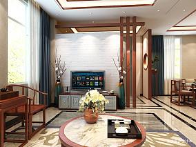 简洁618平中式别墅客厅实景图别墅豪宅中式现代家装装修案例效果图