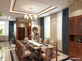 浪漫756平中式别墅餐厅实景图别墅豪宅中式现代家装装修案例效果图