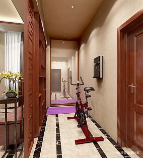 浪漫508平中式别墅过道图片大全别墅豪宅中式现代家装装修案例效果图