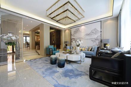精致200平中式四居客厅装修案例151-200m²四居及以上中式现代家装装修案例效果图
