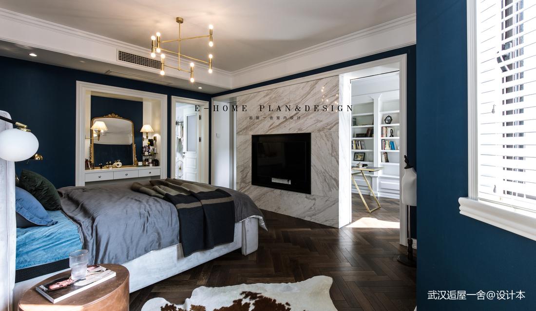 简洁131平美式四居卧室装修图客厅木地板美式经典客厅设计图片赏析