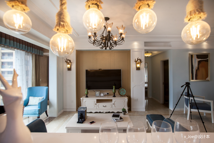 优美96平地中海二居客厅效果图欣赏二居地中海家装装修案例效果图