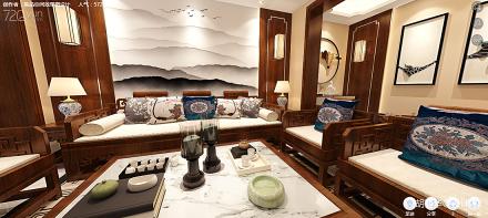 精致220平中式别墅客厅装修设计图151-200m²别墅豪宅中式现代家装装修案例效果图