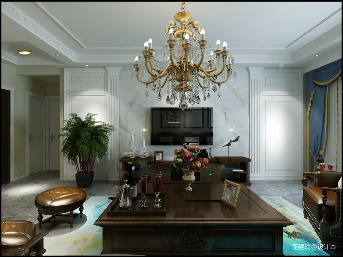质朴83平美式三居客厅装修设计图客厅电视背景墙美式经典客厅设计图片赏析