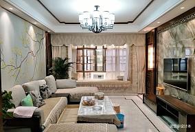 轻奢128平中式三居客厅效果图