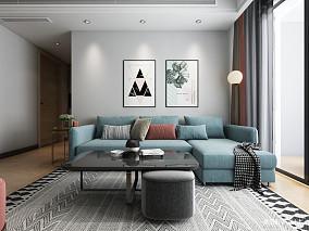 优雅64平北欧二居客厅装修装饰图