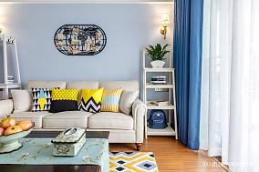 大气71平美式二居客厅装修效果图二居美式经典家装装修案例效果图