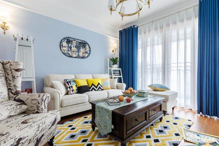 典雅89平美式二居客厅装修效果图