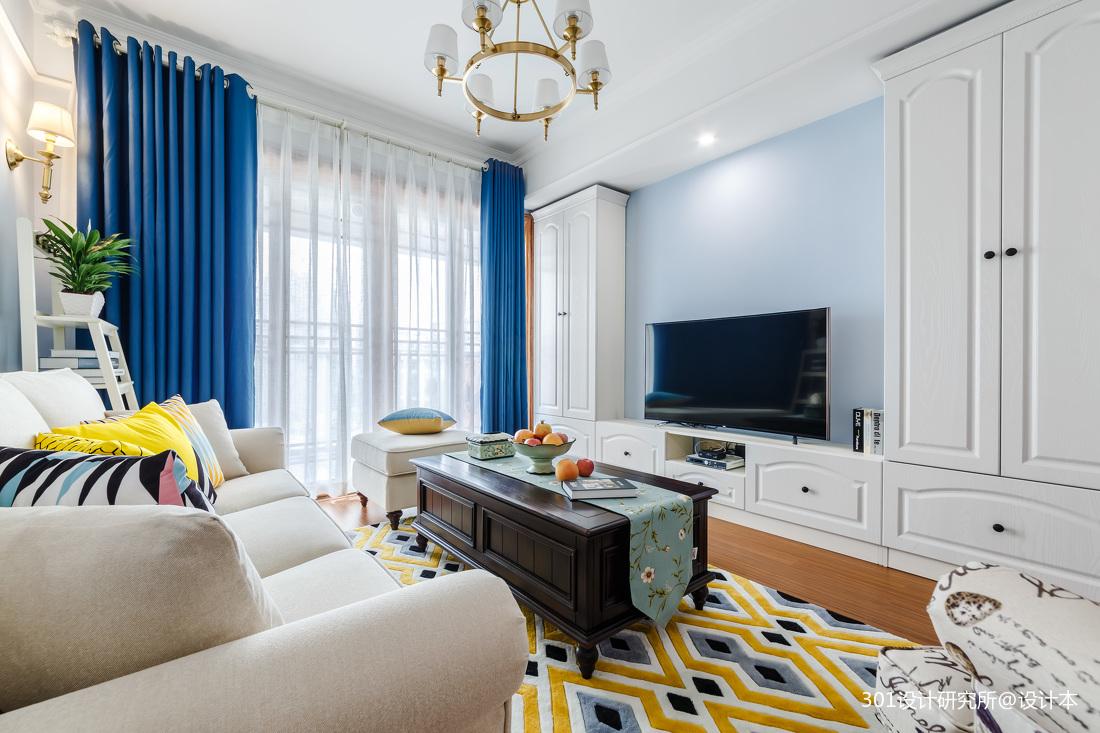 温馨80平美式二居客厅效果图欣赏二居美式经典家装装修案例效果图