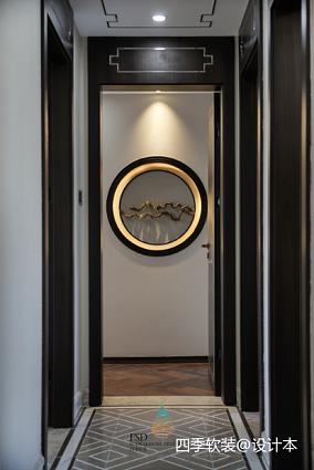 优美117平中式四居过道装修图片四居及以上中式现代家装装修案例效果图