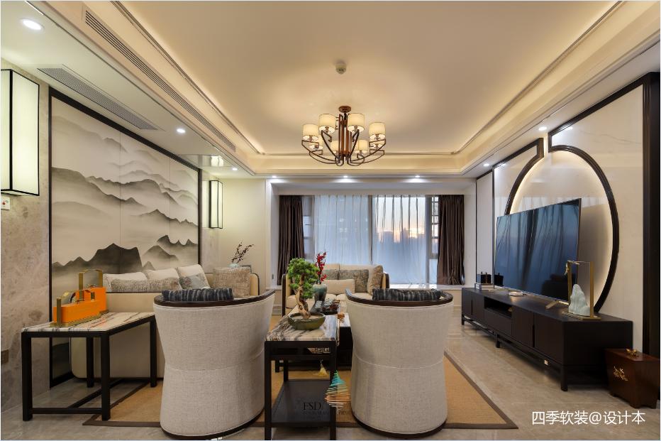 优雅166平中式四居客厅设计美图四居及以上中式现代家装装修案例效果图