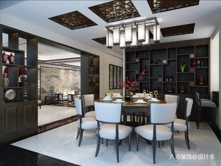 明亮200平中式别墅餐厅实拍图151-200m²别墅豪宅中式现代家装装修案例效果图