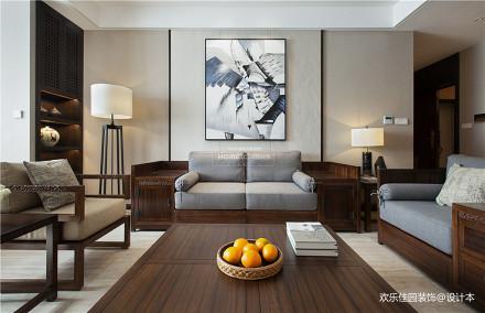 中式四居客厅装饰画设计四居及以上中式现代家装装修案例效果图