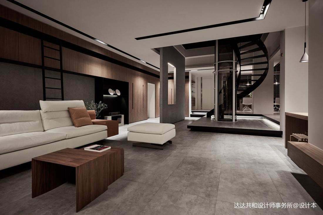 精致73平现代复式客厅装修案例客厅沙发现代简约客厅设计图片赏析
