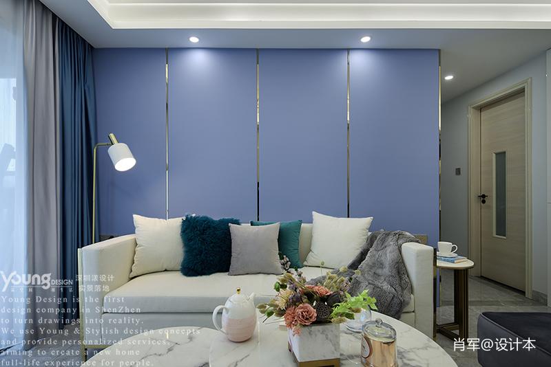 深圳深业东岭现代轻奢风实景案例《立风》客厅沙发现代简约客厅设计图片赏析
