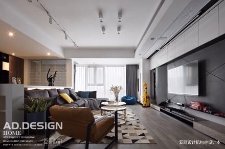 自然现代风客厅沙发图三居现代简约家装装修案例效果图