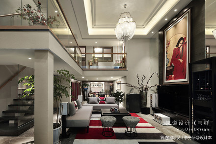 质朴380平中式别墅客厅装饰图