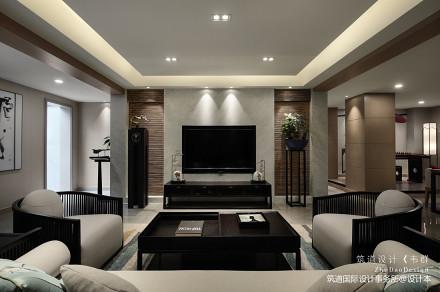 温馨500平中式别墅客厅装修美图151-200m²别墅豪宅中式现代家装装修案例效果图