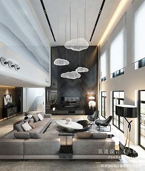 大气800平现代别墅客厅设计图