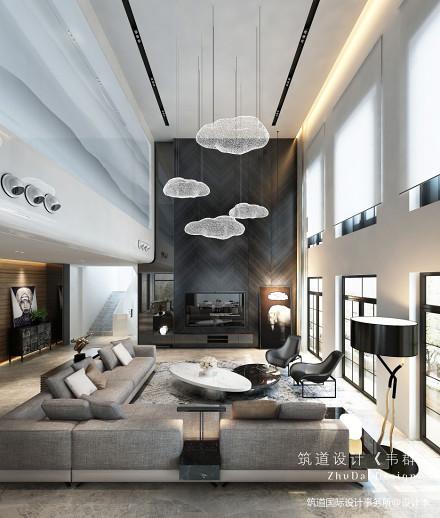 大气800平现代别墅客厅设计图151-200m²别墅豪宅现代简约家装装修案例效果图