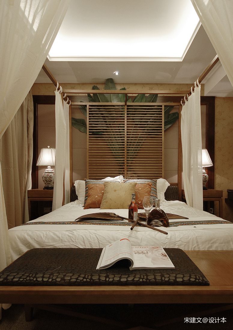 精美107平东南亚三居卧室装饰美图卧室潮流混搭卧室设计图片赏析