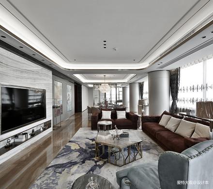 简洁105平混搭四居客厅装修案例