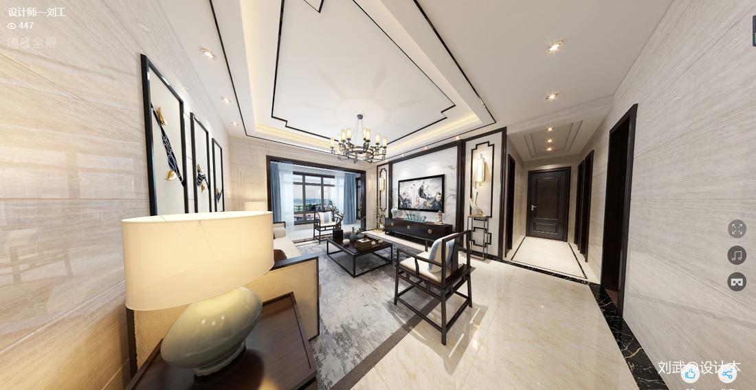 精致142平中式四居客厅效果图片大全121-150m²四居及以上中式现代家装装修案例效果图