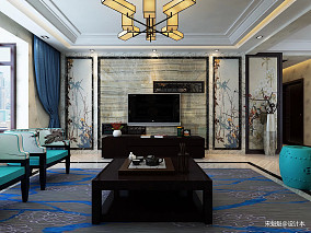 大气120平中式三居客厅布置图
