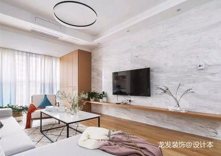 大气85平北欧二居客厅布置图81-100m²二居北欧极简家装装修案例效果图