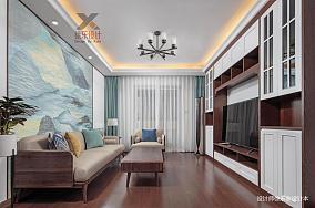 轻奢120平中式三居客厅设计图101-120m²三居中式现代家装装修案例效果图