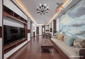 精美81平中式三居客厅装修设计图101-120m²三居中式现代家装装修案例效果图