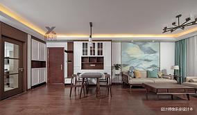 温馨74平中式三居客厅装潢图101-120m²三居中式现代家装装修案例效果图