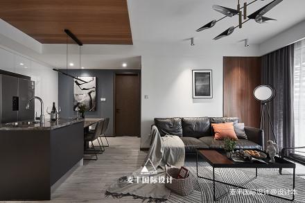简约现代客厅餐厅一体设计三居现代简约家装装修案例效果图